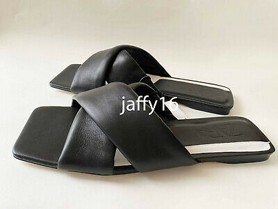 ZARA NEW WOMAN CRISS-CROSS PADDED FLAT LEATHER SANDAL SLIDE BLACK 35-42 1604/510