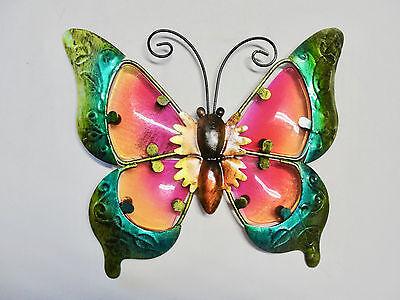 HOME GARDEN POOL YARD PATIO *BUTTERFLY WALL ART* 12185 METAL/ GLASS YELLOW NEW
