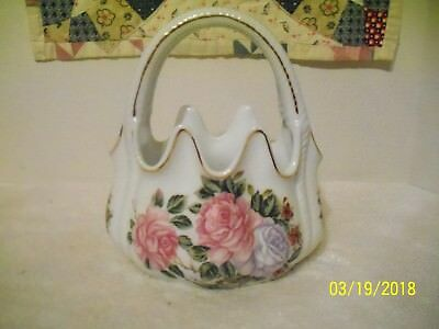 Porcelain Floral Basket Hand Painted Gold Trim Rope Design Handles Scalloped Rim - Hand Painted Porcelain Basket