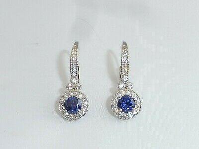 Ladies Art Deco Design Sterling 925 Silver Tanzanite and White Sapphire Earrings