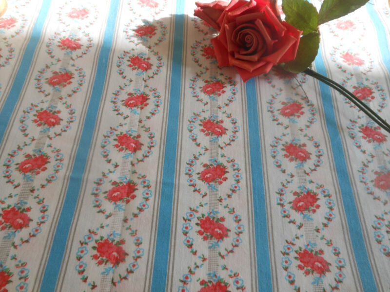 Antique Cameo Roses Ribbon Cotton Fabric ~ Pink Blue ~