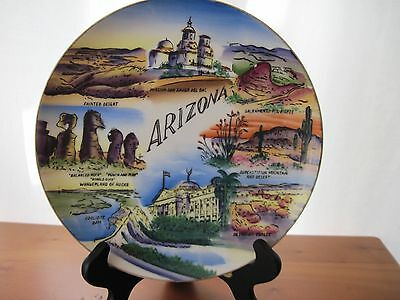 Vintage Souvenir Plate ARIZONA, Wales of Japan ...VIBRANT COLOR