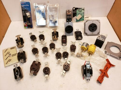 Lot Assorted Twist Lock Receptacles, Male Plugs, Switch, Computer/Phone Jacks