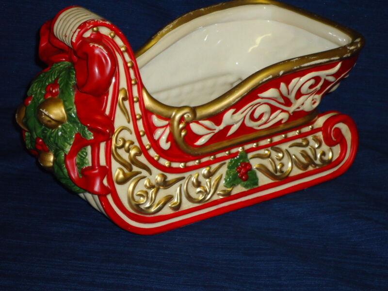 "12.5"" decorative ceramic CHRISTMAS SLEIGH FIGURINE"