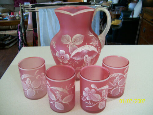 5 Piece Vintage Pink Satin Glass Hand Painted WATER SET Nice Applied Handle