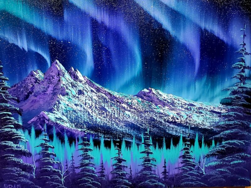 """Bob Ross Style Original Oil Painting """"Northern Lights"""" by seller 24x18 canvas"""