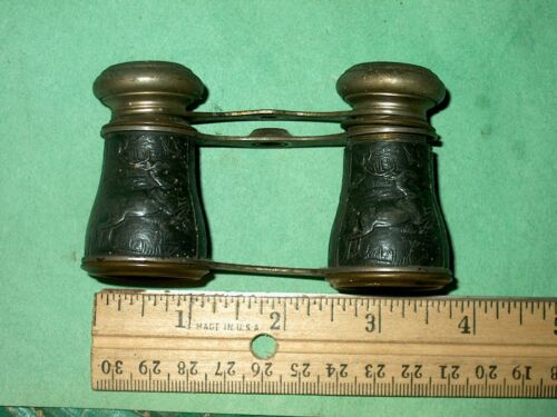 Vintage SPORTIERE Paris Opera Glasses With Stag and Hounds deer PARTS ONLY