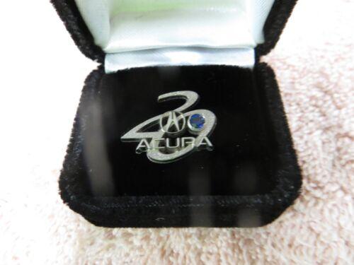 Acura 20th Anniv. Sterling Silver w/Blue Stone Lapel Pin Tie Tack -New Old Stock
