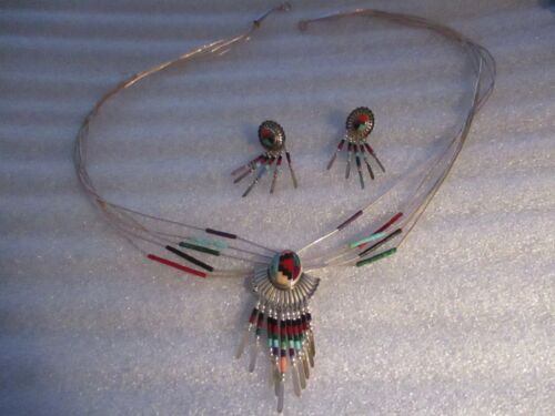 Q T STERLING SILVER LIQUID 5 STRAND NECKLACE WITH MATCHING EARRINGS GORGEOUS