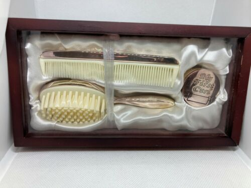 NEW BABY BRUSH COMB & FIRST CURL GIFT SET IN WOODEN BOX By STEPHAN  HIGH QUALITY