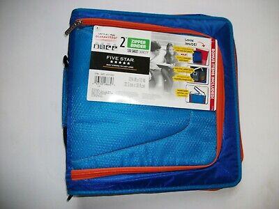 Mead Five Star 2 Zipper Binder Bonus Items Blue Orange Notebook Tech Pocket