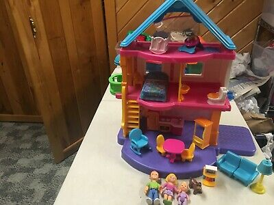 FISHER PRICE  MY FIRST DOLLHOUSE LOADED W FURNITURE DOLLS DOG  BRIGHT COLORS