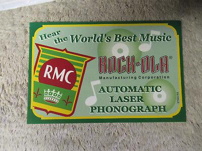 "7 1/8- 4 5/8"" ROCK OLA RMC CARD  green   PHONOGRAPH JUKEBOX"