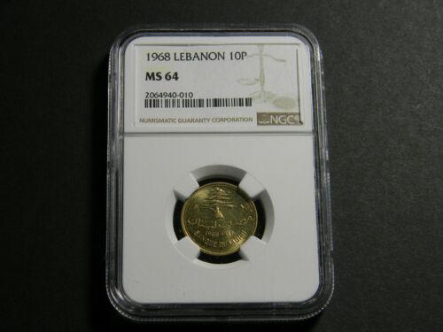 Lebanon 1968 10 Piastres NGC MS 64