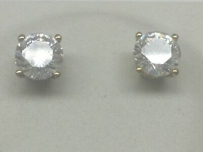 New With Out Tag Yellow Gold Over Sterling Silver Round CZ Earrings 2ct Total