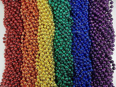 72 Rainbow Colors Mardi Gras Beads Necklaces Party Favors 6 Dozen - Mardi Gras Party Favors