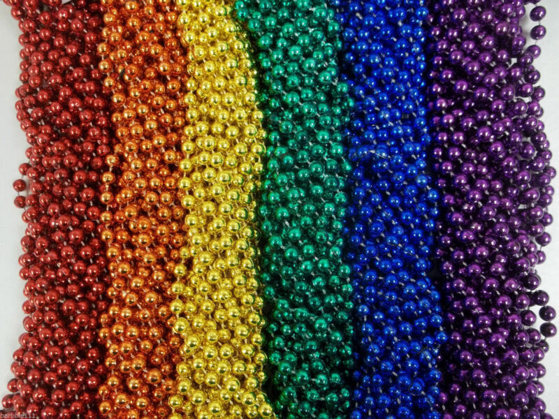 72 Rainbow Colors Mardi Gras Beads Necklaces Party Favors 6 Dozen Lot