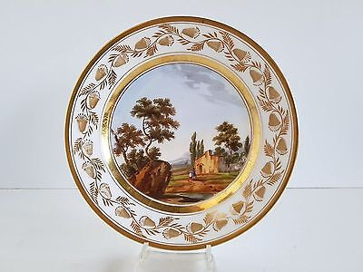 Biedermeierteller mit Landschaftsmalerei Darte Freres Paris Frankreich um 1820