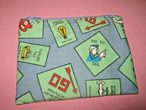 Cloth Zipper Pouch-Make Up Bag-Stash Bag-Game Piece Bag-Handmade
