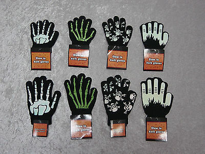 TWO SIZES Childrens Halloween Gloves Bones Skulls Werewolf 4 Designs - Halloween Two