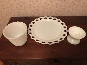 Collection of Milk Glass - Platter, Planter & Candle Holder