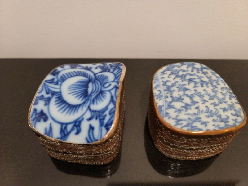 Set of Two Vintage Chinese Shards Porcelain Fragment Silver plate pill box