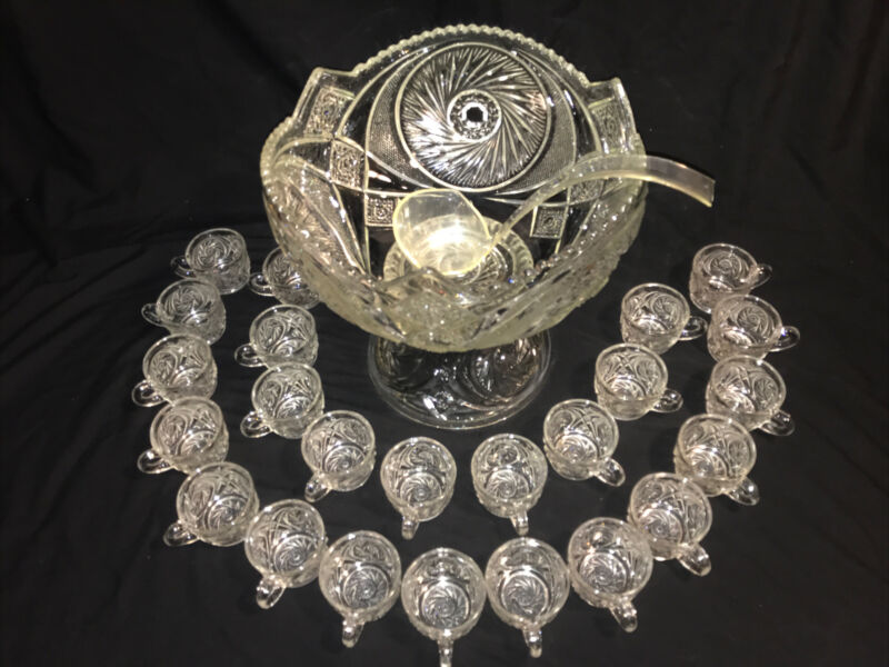 Vintage American Pressed Glass Punch Bowl, Pedestal, 24 Cups , Whirlwind Pattern