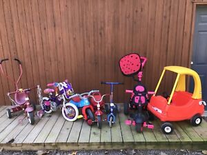 Kids tricycles, bike, scooter, car, and bike seat