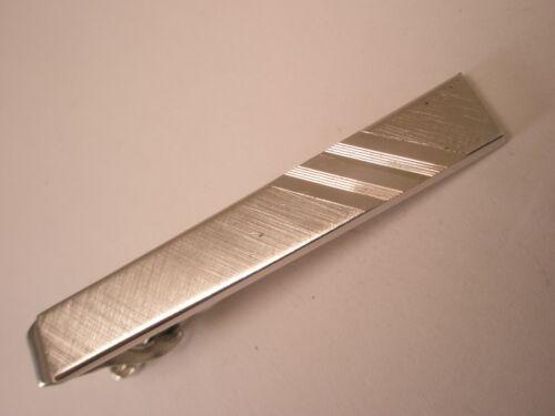 -Silver Tone Matte Finish Diagonal Lines Plain Simple Vintage Tie Bar Clip