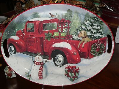 RED TRUCK WITH TREE LARGE OVAL TIN TRAY SUSAN WINGET DOG PACKAGES SNOWMAN WREATH