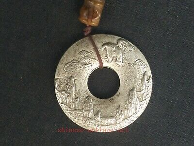Collection Chinese Tibet Silver Hand-made Landscape figur 鹏程万里 Necklace Pendant