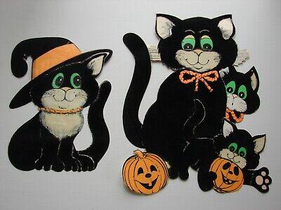 Vintage Die Cut Halloween Black Cat Jack O Lantern by Beistle Hanging Decoration