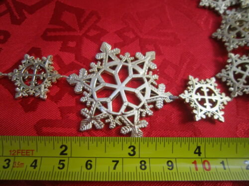 Vintage 16 Feet Retro Christmas Gold Plastic Snowflakes Garland  / crafts