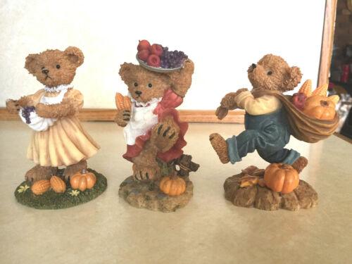 Home Interiors- Happy Harvest Bears  Figurines --New in Box