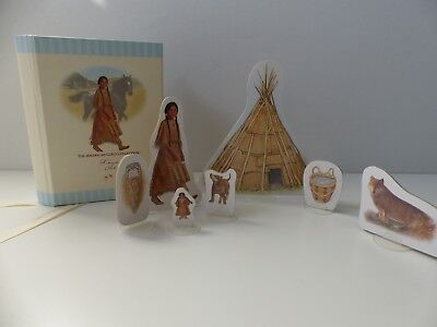 RARE KAYA American Girl Play Set Native American wood cut out stand ups dog EUC - Cut Out Stand Ups