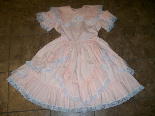 Vintage Lilo California Girls Dress Peach Ruffles Lace Full Circle Sz 12