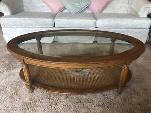 Gorgeous Set of 3 Vintage Solid Oak/Glass Coffee Tables