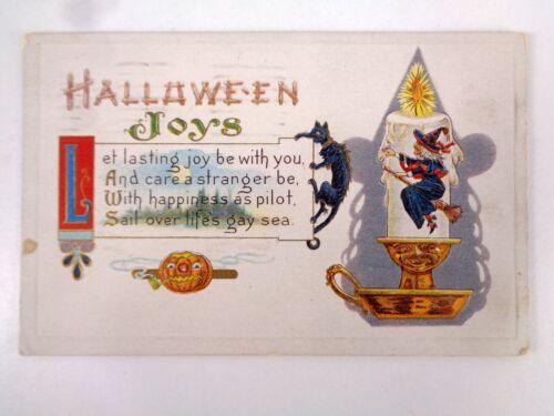 Vtg Samson Brothers Halloween Joys Postcard S-640 Witch Black Cat JOL