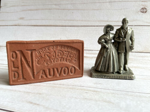 Lot 2 LDS Souvenir Red Clay Brick Old Nauvoo + Joseph & Emma Miniature Figures
