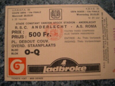 Ticket: Anderlecht - AS Roma UEFA (20-3-91)