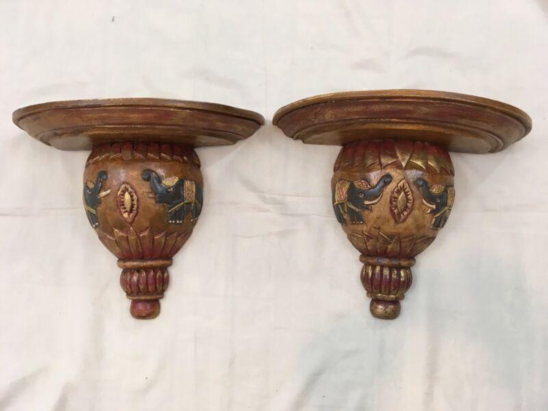 Set of 2 Vintage Wood Hand Made Carved Thailand Elephant Wall Shelf Sconce