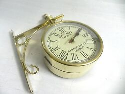 VICTORIA  STATION RAILWAY BRASS CLOCK LONDON DOUBLE SIDE CLOCK 12 INCHES