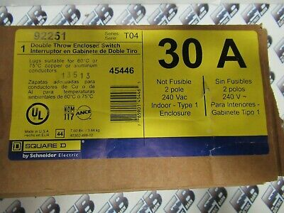Square D 92251 30 Amp 240 Volt 1 2 Pole Double Throw Switch- New- Ats341