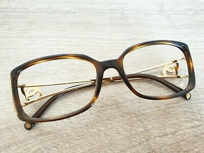 Authentic CHANEL 3066-B c.502 Tortoise & Gold Eyeglasses Frame With (Chanel Rhinestone Eyeglasses)