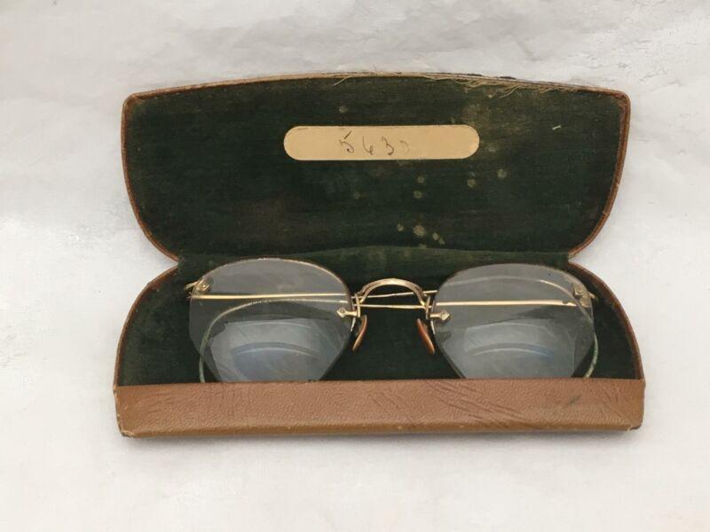 Antique 12 KT GOLD FILL Eyeglasses w Case Drs Van Gelder& Beauclair INGLEWOOD CA