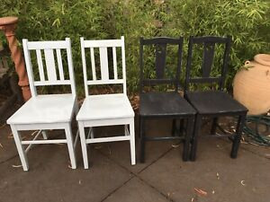 FOUR SOLID HARDWOOD VINTAGE SCHOOL CHAIRS INDUSTRIAL