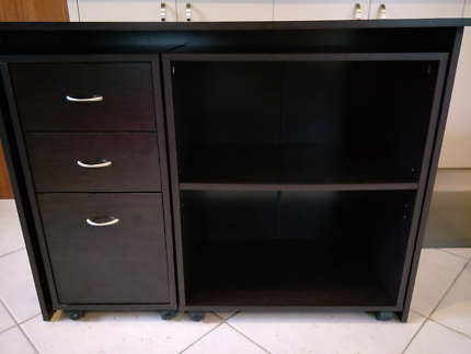 Desk with drawers & bookcase, Black brown