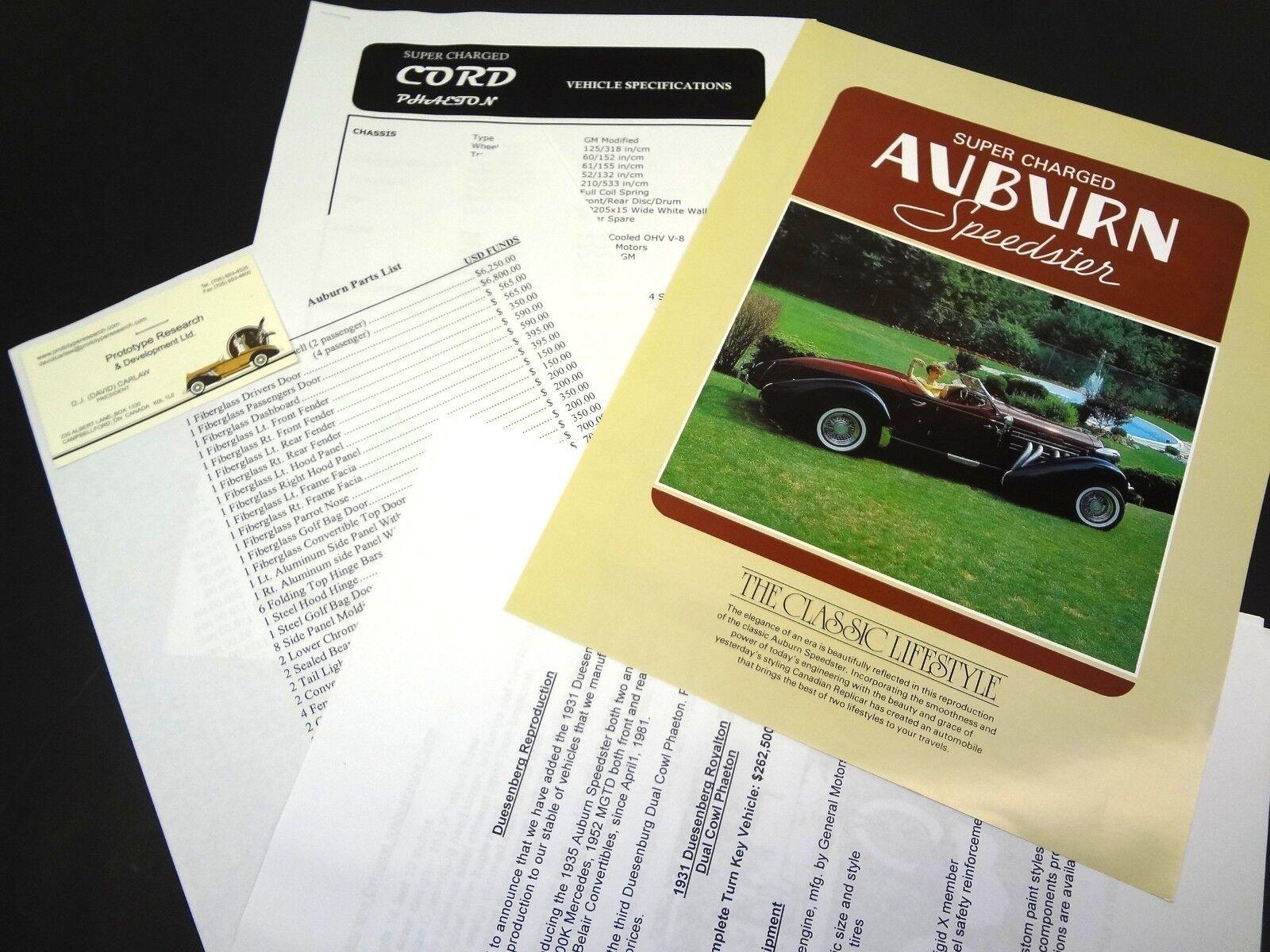 Prototype Research and Development Auburn Speedster Sales Sheet Catalog Specs