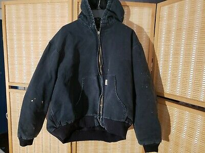 Carhartt Washed Duck Active Jacket Quilt Lined Size Large Black Work Wear