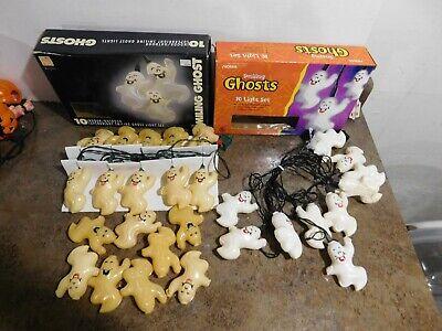 VTG Halloween-2 Strings of GHOST/SKELETON Blow Mold 10 Light Set Double Sided +